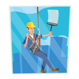 Windows Cleaning Worker Vector. Professional Worker Cleaning Windows. Modern Skyscraper. High Risk Work. Isolated Flat Stock Photo