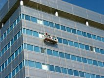 Window washers. On the office building Stock Photo