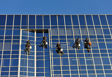 Window Washers. Team of window washers washing windows of a modern building Royalty Free Stock Photography