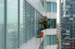 Window washers on skyscrapers in Toronto Canada Stock Photo