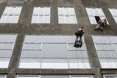 Window washers on top. Two workers hung ropes wash windows on high-rise Royalty Free Stock Photo