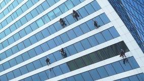 Window washers working stock video footage