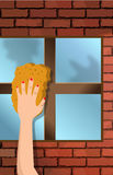 Window washing Royalty Free Stock Photo