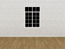 Window on white brick wall ,3d Royalty Free Stock Photo