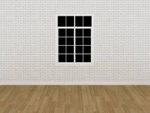 Window on white brick wall ,3d Royalty Free Stock Photo
