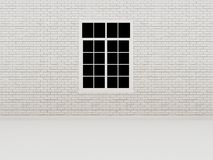 Window on white brick wall ,3d Stock Image