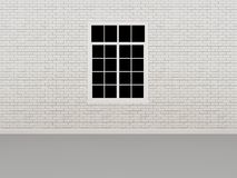Window on white brick wall ,3d Royalty Free Stock Images