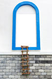 Window with white copyspace and rope ladder Royalty Free Stock Images