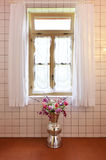 Window with white curtains, interior Stock Photo