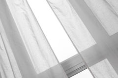 Window with white curtains Royalty Free Stock Photos
