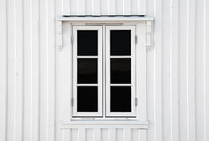 Window in white wooden wall Royalty Free Stock Photo