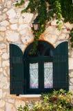Window in windmill on Zakynthos island Royalty Free Stock Images