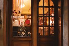 Window of wine shop. Royalty Free Stock Images
