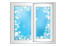 Window on a winter background. Royalty Free Stock Photo