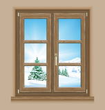 Window winter scene royalty free illustration