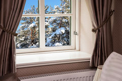 Window With Curtains In Winter Royalty Free Stock Images