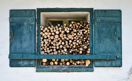 Window With Firewood Royalty Free Stock Image