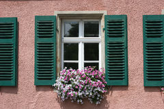 Window With Green Shutter Stock Photography