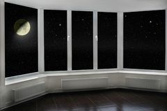 Window With View To Moon And Dark Night Sky. Stars And Moon Royalty Free Stock Image