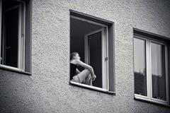 Window, Woman, Building, Home Stock Image