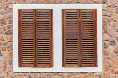 Window Wood Shutters Stone  Stock Photography