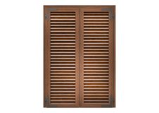 Window with wood venetian shutters. Window with wood venetian shutters, closeup front view, 3D rendering Stock Images