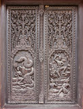 Window woodcarving in temple Royalty Free Stock Photo