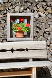 Window with wooden background and flowers Stock Photography