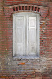 Window. Wooden window and brick wall Royalty Free Stock Photos