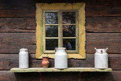 Window on wooden farmhouse Royalty Free Stock Images