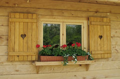 Window with a wooden frame Royalty Free Stock Images