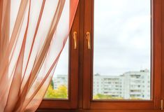 Window in wooden frame Stock Photos