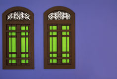 The window wooden frame and mullion green glass with thai style Royalty Free Stock Photos