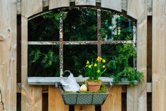 Window in a wooden garden fence Royalty Free Stock Photography