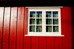 Window in wooden house Stock Photo