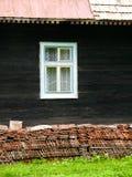 Window on wooden house Stock Photo