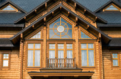Window in a wooden house Stock Photography