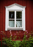 Window in wooden house, Sweden Royalty Free Stock Photos