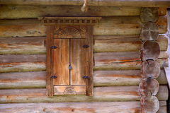 Window in an wooden peasant house Royalty Free Stock Photography