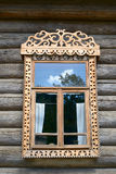 Window in an wooden peasant house Stock Photography