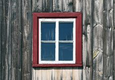 Window of a wooden rustic house Stock Photo