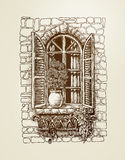 Window with wooden shutters. Vintage sketch. Vector illustration Stock Photo