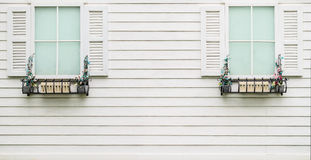 Window on wooden wall Stock Photos