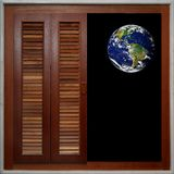 Window of the World. A half-open wooden window frame lined with polished marble, overlooking the Earth in the distance Stock Photos