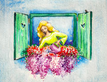 Window. Young lady watering her flowers on a window. Picture created with watercolors vector illustration