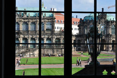 Through window of zwinger, dresden. Looking through the windows at a famous baroque palace and  museum  in dresden, the building has been  rebuilt after second Stock Photos