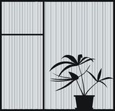 Window2. There is a plant silhouette in the background a window royalty free illustration