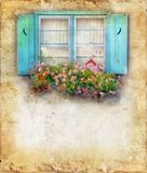Windowbox and Shutters on Grunge Background. Window box overflowing with flowers and blue shutters. Copy-space for your text Royalty Free Stock Photography