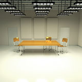 Windowless room with table and chairs Stock Photos