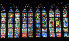 Windowpane of Notre-Dame cathedral in Paris royalty free stock image